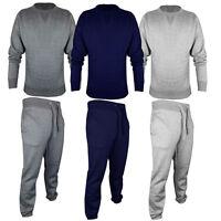 Mens Plain Round Neck jogging suit Full Tracksuit Sweat Shirt Bottoms Top Fleece