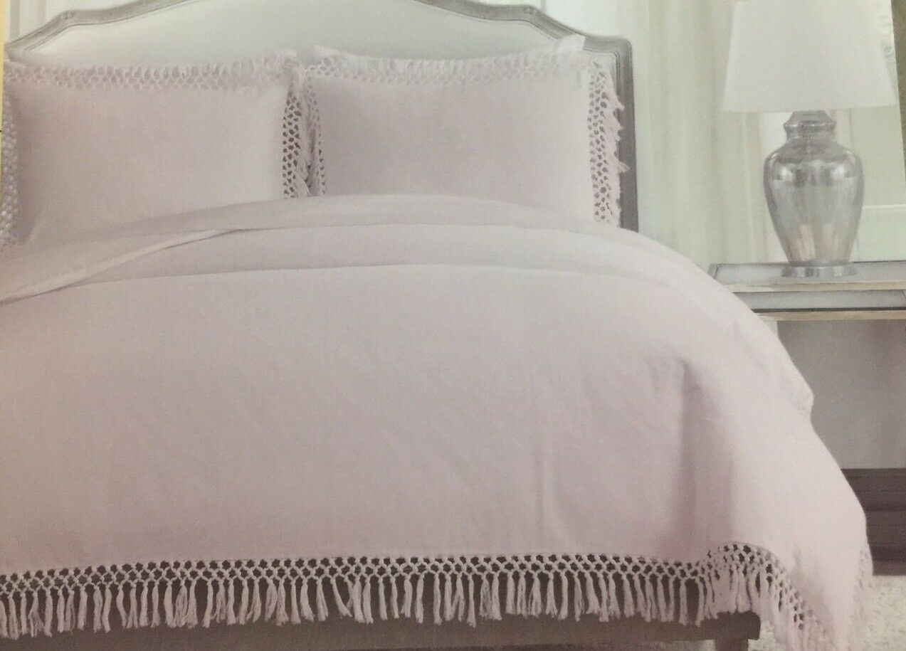 NICOLE MILLER LIGHT PINK FRINGE MACRAME EDGE KING DUVET COVER SET W   SHAMS