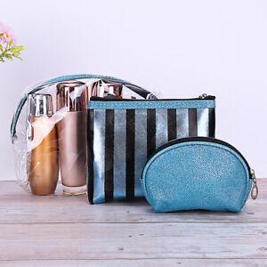 3Pcs-Set-Bracciale-Donna-Chiaro-A-Righe-Viaggio-Makeup-Cosmetici-Storage-Bag-Nuova