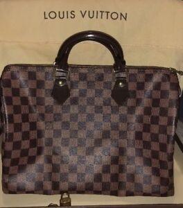 "d332463f7aa Details about Louis Vuitton Speedy 35 in ""Damier Ebene""!"