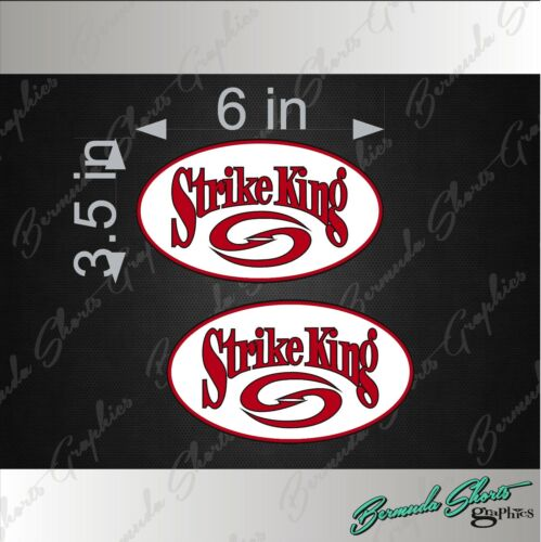 "STRIKE KING Fishing OVAL Logo PAIR 6/"" Vehicle Vinyl Lures Decal Stickers"