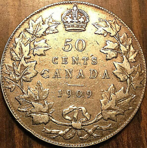 1909-CANADA-SILVER-50-CENTS-Excellent-example