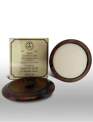 Taylor Of Old Bond Street Sandalwood Shave Shaving Soap In Wooden Bowl 100g Bar