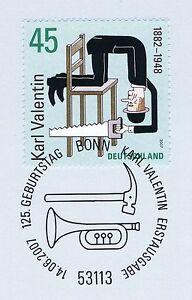 Rfa 2007: Karl Valentin Nº 2610 Avec Le Bonner Ersttags-cachet Spécial! 1a!-rstempel! 1a!afficher Le Titre D'origine