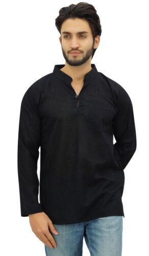 atasi Herren-Stehkragen kurz kurta schwarz Baumwollbeiläufigen Tunika Shirt