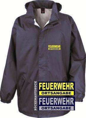 Ortsangabe Feuerwehr Jacke und Rückenaufdruck Fleece Jacke Navy Brust