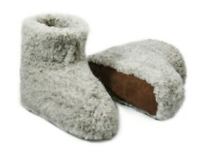 Natural Sheep/'s Sheepskin Wool Warm Men/'s Slippers Booties House Shoes Grey