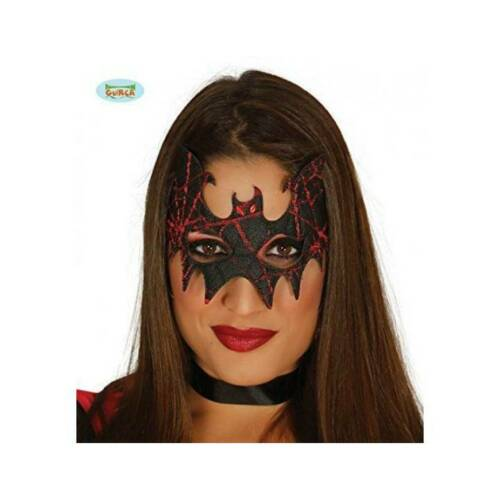 Black and Red Soft BAT MASK Masquerade Gothic Ladies Halloween Fancy Dress