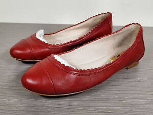 bbcb8d6e3df Image is loading Louise-et-Cie-Eilley-Scalloped-Flat-Red-Leather-