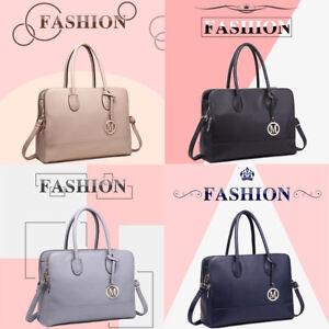 Ladies-Handbag-PU-Leather-Shoulder-Bag-Zipper-Satchel-Laptop-Bag-Large-Black