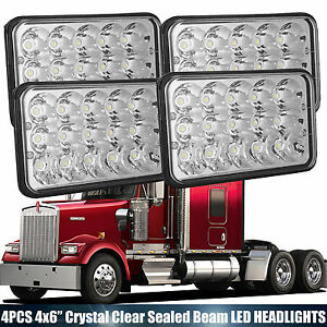 Details about 2pairs LED Rectangular Headlights Hi/Low Beam headlamp For  Kenworth W900 DRZ UTV