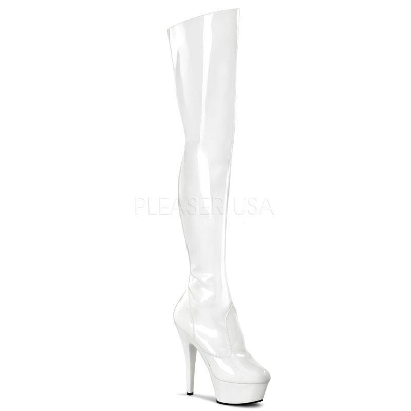 Pleaser Kiss-3010 white patent stiletto platform thigh high boots boots boots sizes 5-14 745a09