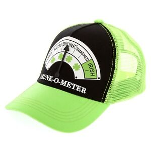 11430f215 St. Patrick's Day Holiday Drunk-O-Meter Trucker Unisex Hat One Size ...