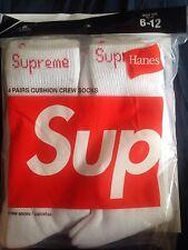 (1) Pair SUPREME x HANES Crew Socks Size 6-12 White SS17 Supreme New York