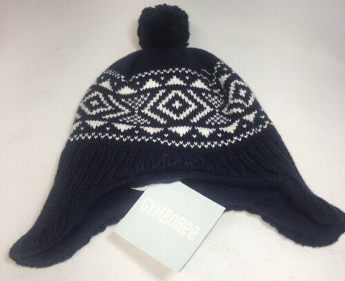 Gymboree Baby Toddler Winter Hat 6-12 months Navy White COVERS EARS NWT $21.95