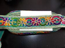 TEAL multicolour asian embroidery trimming costume ribbon festival boho applique