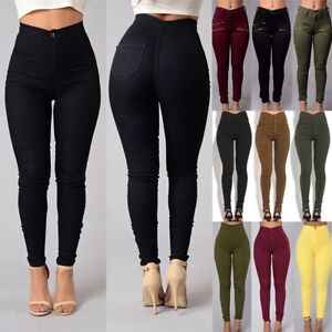 Womens-Skinny-Jeans-High-Waist-Stretchy-Pencil-Pants-Slim-Fit-Jeggings-Trousers