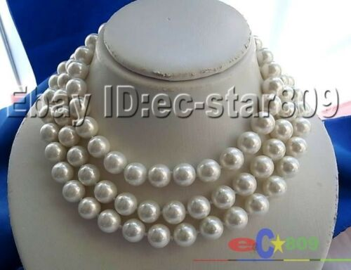 """P919 long 50/"""" 12 mm Blanc Rond Sud Coquille Perle Collier"""