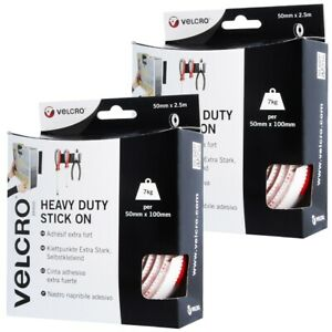 2-x-WHITE-VELCRO-ADHESIVE-STRIP-50mm-x-2-5M-Heavy-Duty-Hook-Loop-Flexible-Tape