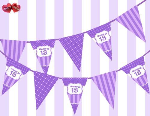 Muy morada feliz 13th Cumpleaños Lunares Vintage Fiesta temática Empavesado Bandera