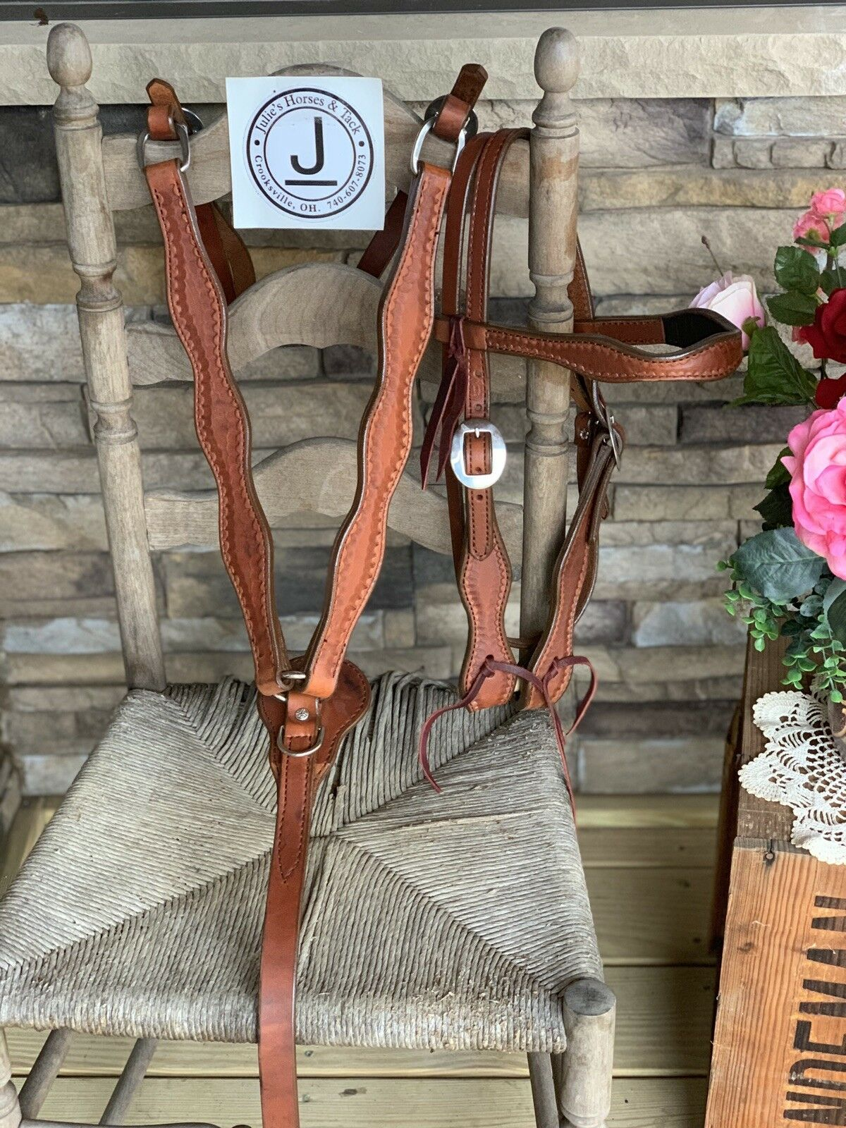 Circle L Handmade Leather Double Stitched Headstall Breast Collar  Free Ship