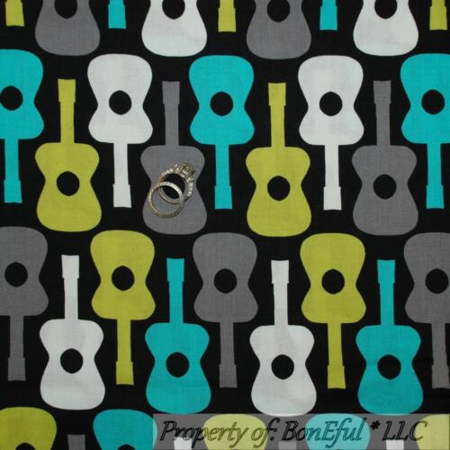 BonEful Fabric FQ Cotton Quilt Black Gray White B/&W Aqua Green Music Guitar Dot