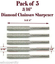 "5 Pc 3/16"" Diamond Chainsaw Sharpener Burr Stone File Fits Craftsman 1/8 Shank"