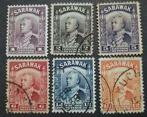 Malaya-Sarawak-1934-Sir-Charles-Vyner-Brooke-Loose-Set-Up-To-12c-6v-Used
