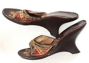 Chic-Varsavia-Viamara-Hi-Wedge-Slides-Sandals-Women-9-Embellished-Brown-Gold