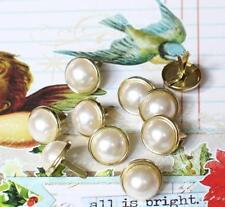 12mm PEARL BRADS- WHITE w/Gold Trim Scrapbook Wedding Birthday Graduation 10pc