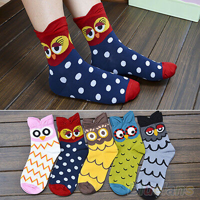 Fancy Womens Girls Mid-Calf Socks Cartoon Soft 3D Owl Print Cotton Blended Socks