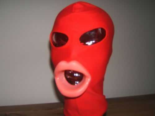 Black With Sissy Lips in Red Red Spandex Gimp mask Pink  Very Hot item  SizeM