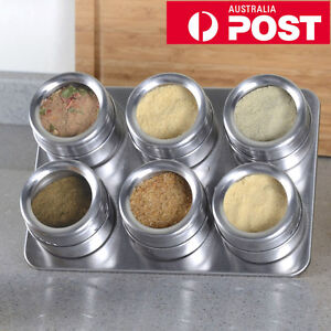 Au Stainless Steel Magnetic Spice Rack Herb Pot Jar Kitchen Storage Holder Stand by Luckygifts4you