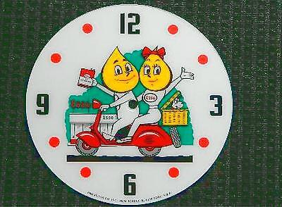"""*NEW*14.25/"""" ESSO SCOOTER GASOLINE OIL ROUND GLASS FACE FOR PAM CLOCK"""