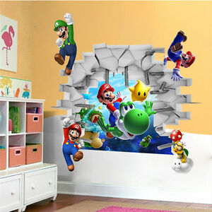 3d super mario removable bros kids room games wall sticker for 3d room decoration game