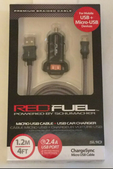 Micro-USB to USB Cord Schumacher SL11 2.4 Amp USB Car Charger with Apple Cord