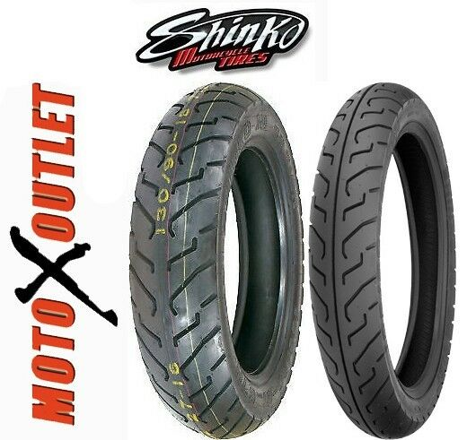 Shinko 777 Heavy Duty Whitewall Front /& Rear Tire Set 100//90-19 /& 130//90-16