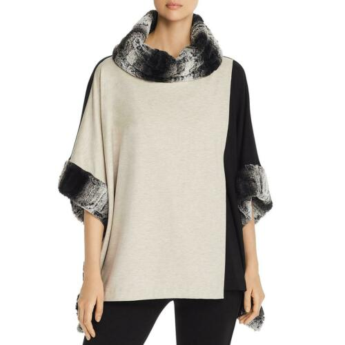 Capote Womens Beige Faux Fur Cowl Neck Top Poncho Sweater S//M BHFO 9321