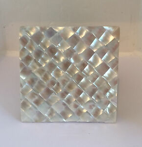Set-of-6-Mother-of-Pearl-Square-Coasters-Brand-New