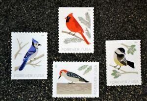 2018USA-Forever-Birds-in-Winter-Set-of-4-Singles-from-booklet-Mint