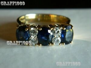 Estate-3Ct-Oval-Cut-Blue-Sapphire-amp-Diamond-Ring-14k-Yellow-Gold-Over-Band-Ring