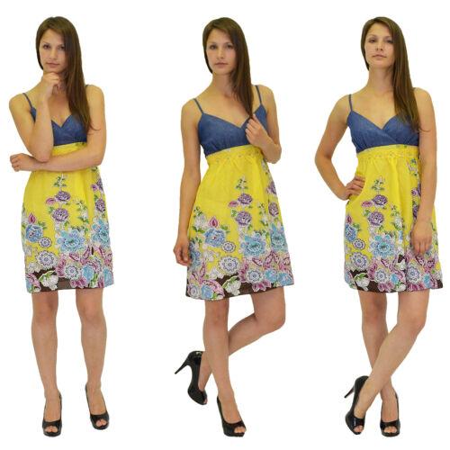 SALE Strandkleid Sommerkleid Sommer Strand Kleid Trägerkleid mit Jeans Optik K05