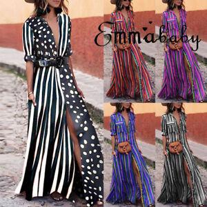 USA-Women-Summer-Boho-Long-Maxi-Dress-Cocktail-Party-Beach-Dresses-Slit-Sundress