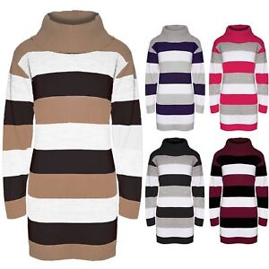 Womens-3-Colors-Blocks-Stripes-Sweater-Ladies-Knit-Cowl-Neck-Jumper-Tunic-Dress