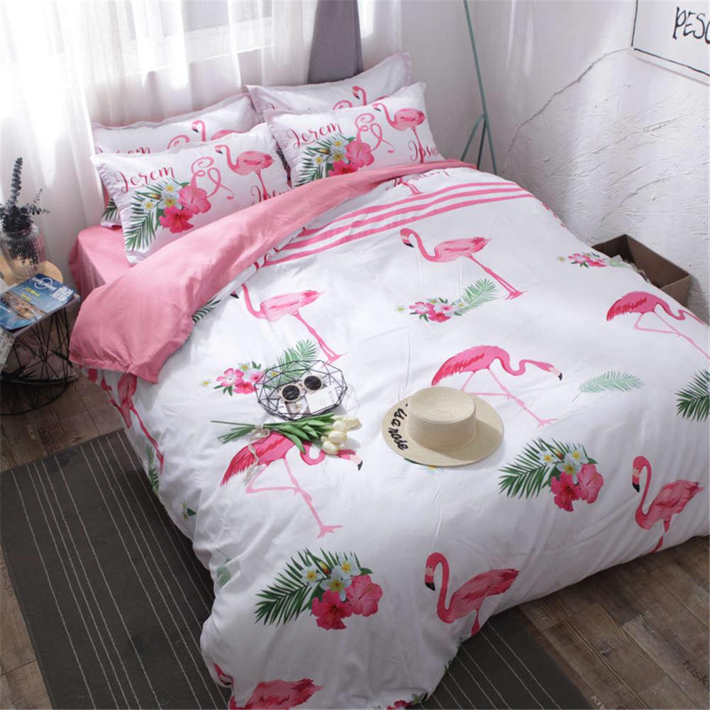 Flamingos Look Down Food 3D Digital Print Bedding Duvet Quilt Cover Pillowcase