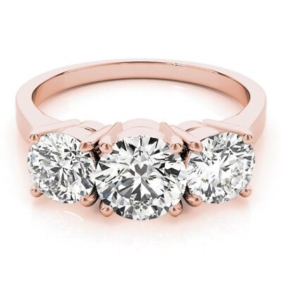 Precise 1.35 Ct Other Fine Rings Round Cut Diamond Engagement Rings 14k Solid Rose Gold Rings Size L M N