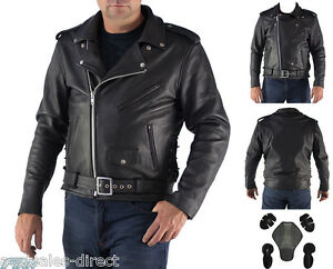 Premium-Mens-Brando-Motorcycle-Leather-Jacket-A-Cowhide-CE-Armour-Cruiser-Biker