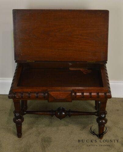 Flint /& Co Henry Bruner Antique Victorian Walnut Lift Top Bench Geo C
