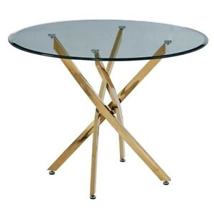 Artisan Furniture Monahan 40 Round Glass Dining Table With Gold Chrome Base Ebay