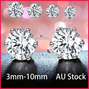 Details About 24k White Gold Gf Silver Ct Lab Diamond Mens Lady Kids Solid Round Stud Earrings